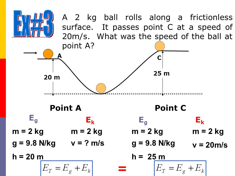 Ex#3 A 2 kg ball rolls along a frictionless surface. It passes point C at a speed of 20m/s. What was the speed of the ball at point A