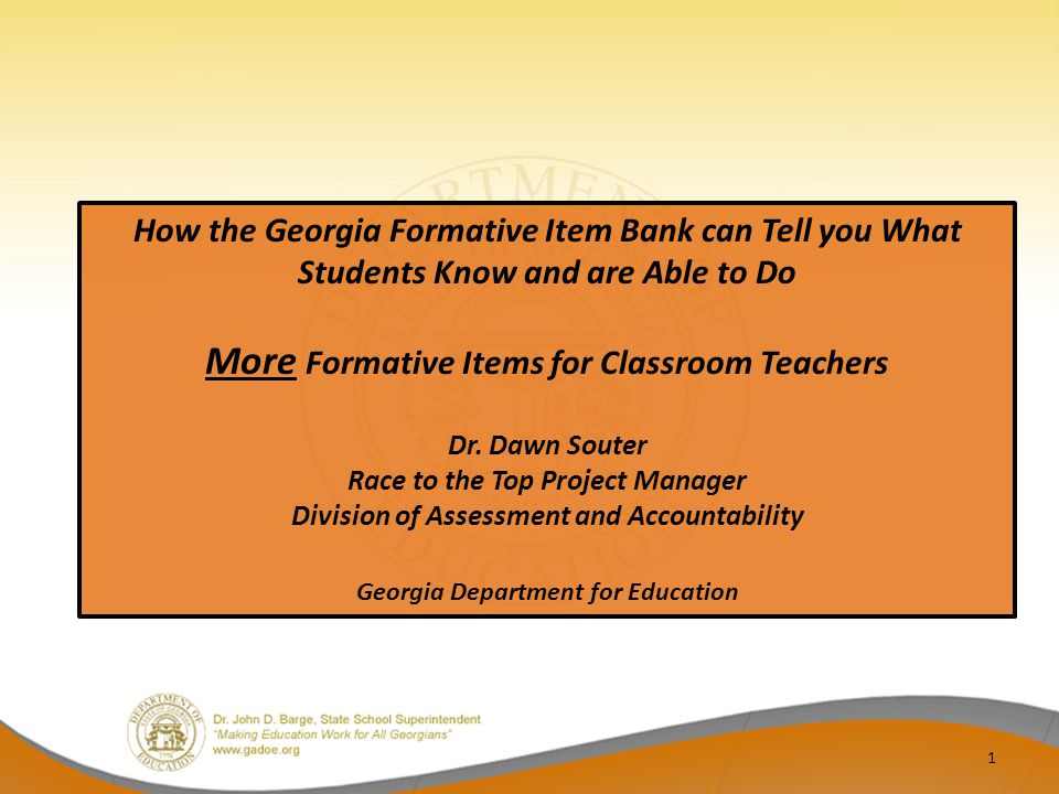 More Formative Items for Classroom Teachers