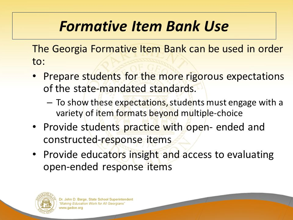 Formative Item Bank Use
