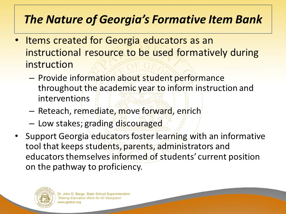The Nature of Georgia's Formative Item Bank