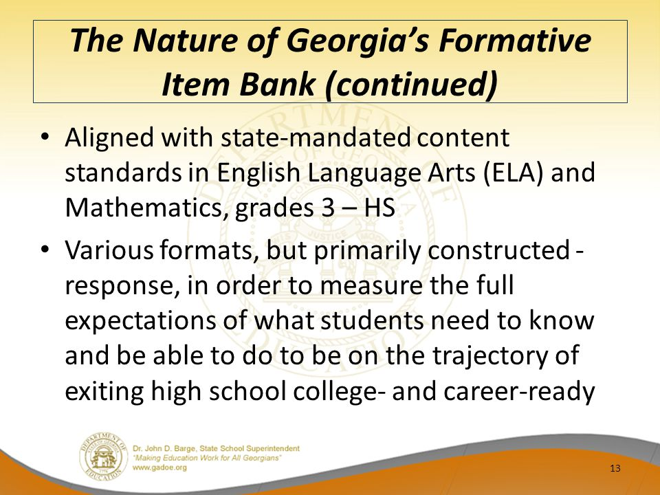 The Nature of Georgia's Formative Item Bank (continued)