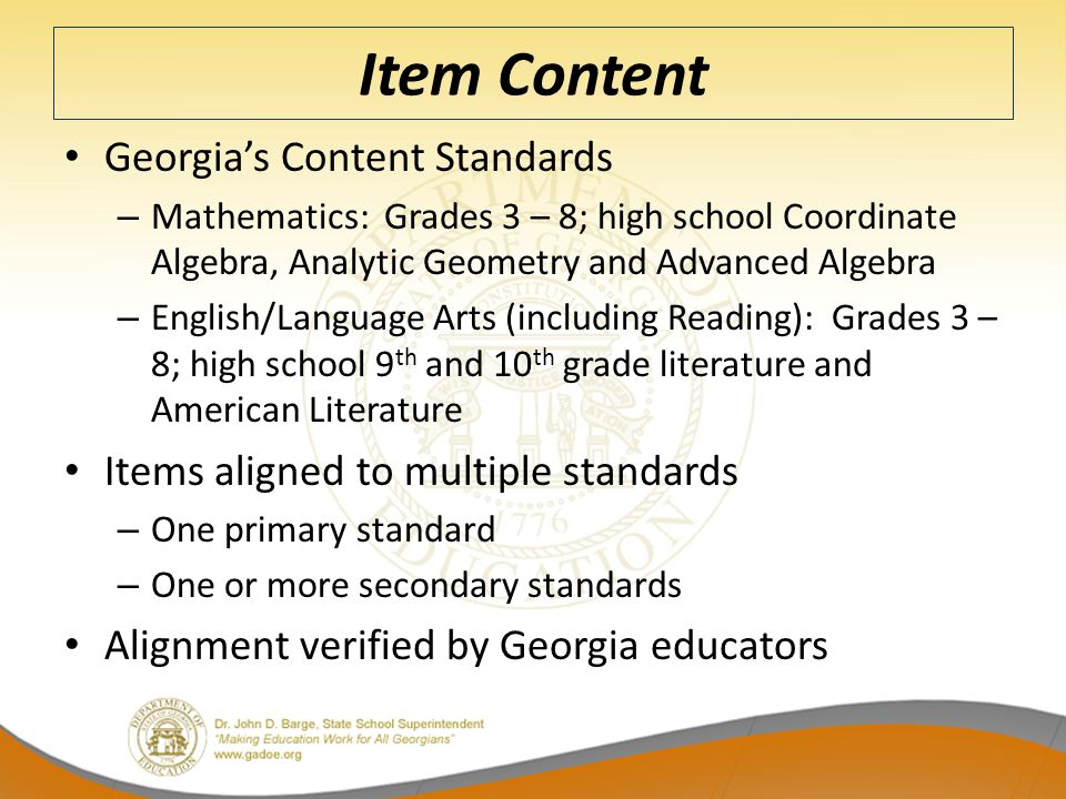 Item Content Georgia's Content Standards