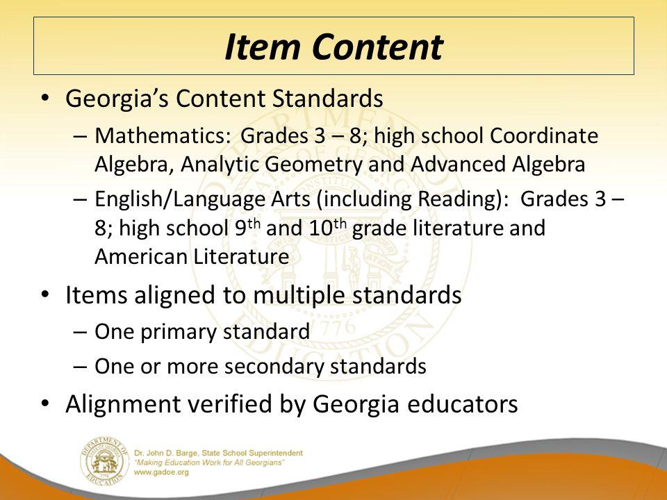 Item Content Georgia's Content Standards