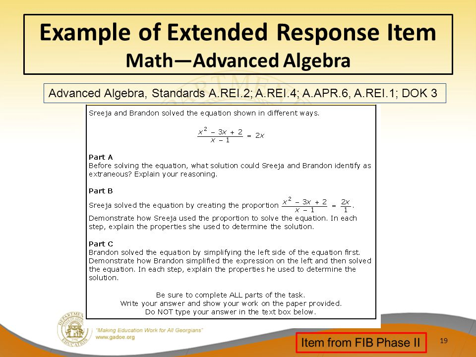Example of Extended Response Item Math—Advanced Algebra