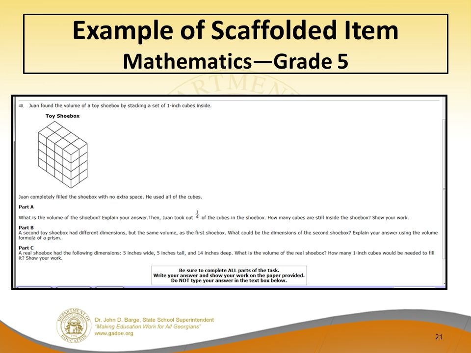 Example of Scaffolded Item Mathematics—Grade 5