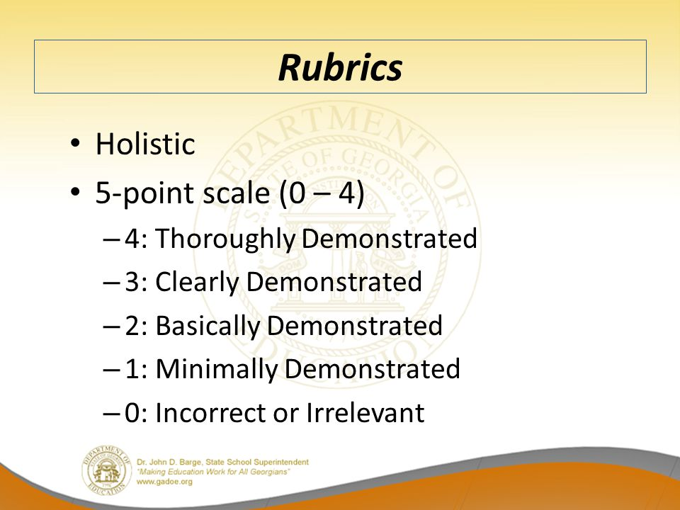 Rubrics Holistic 5-point scale (0 – 4) 4: Thoroughly Demonstrated