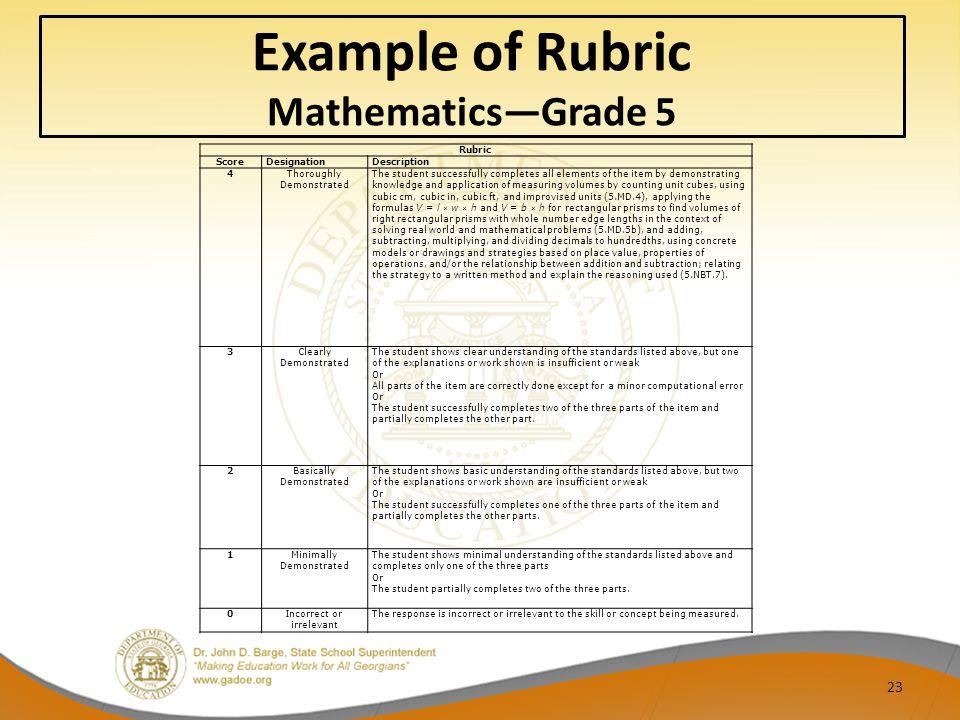 Example of Rubric Mathematics—Grade 5