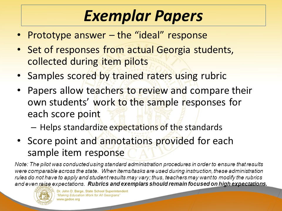 Exemplar Papers Prototype answer – the ideal response