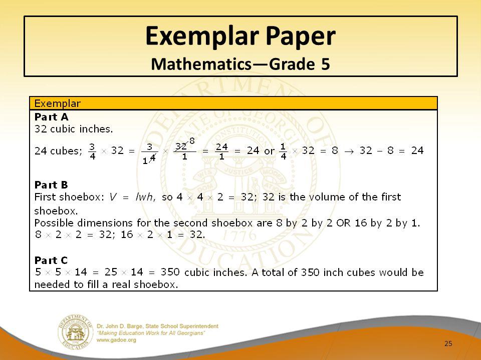 Exemplar Paper Mathematics—Grade 5