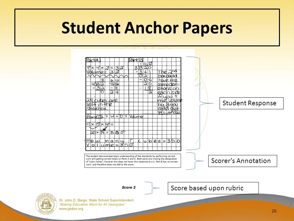 Student Anchor Papers Student Response Scorer's Annotation