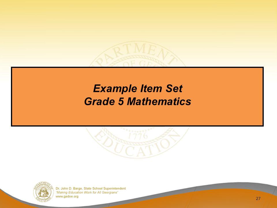 Example Item Set Grade 5 Mathematics