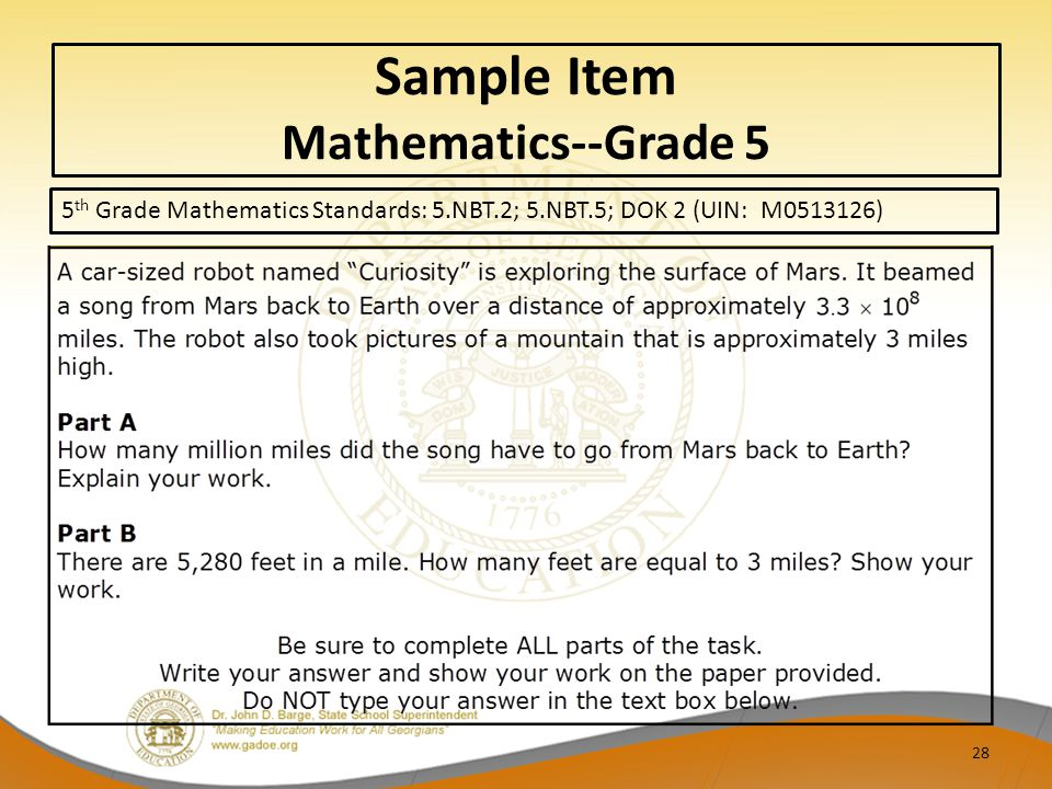 Sample Item Mathematics--Grade 5