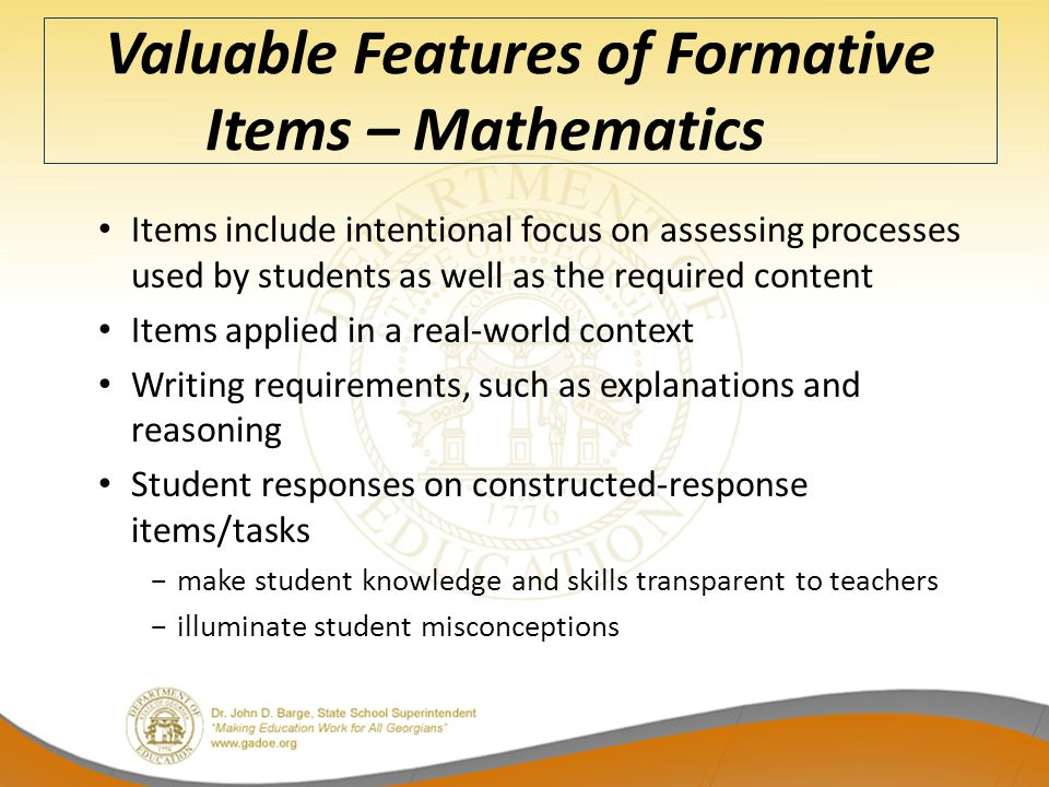 Valuable Features of Formative Items – Mathematics