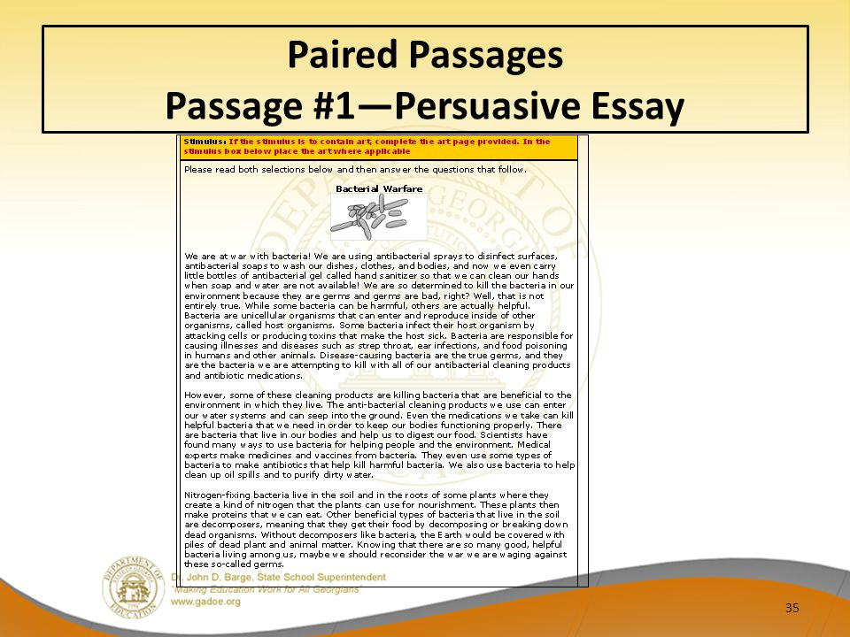 Paired Passages Passage #1—Persuasive Essay