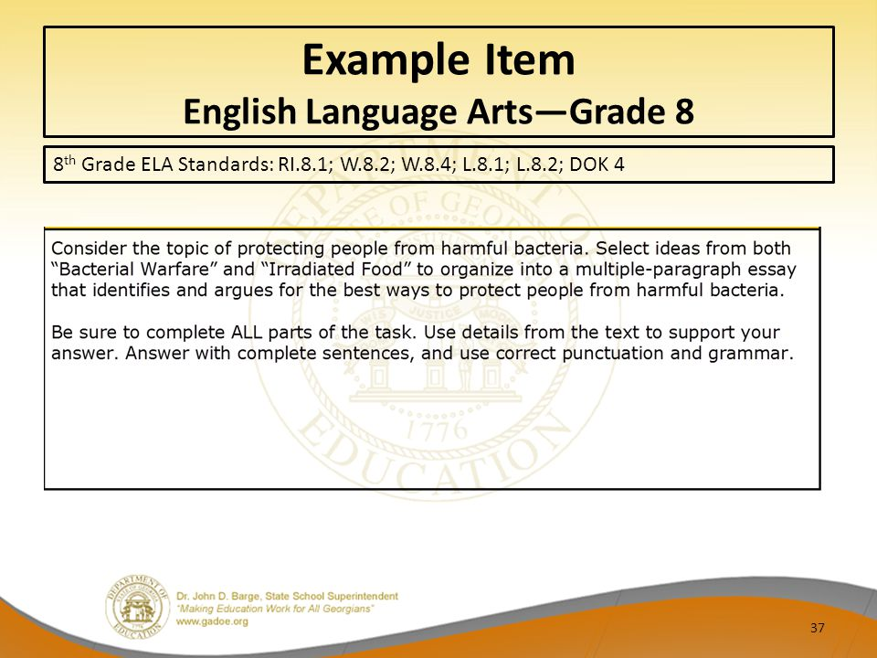 Example Item English Language Arts—Grade 8