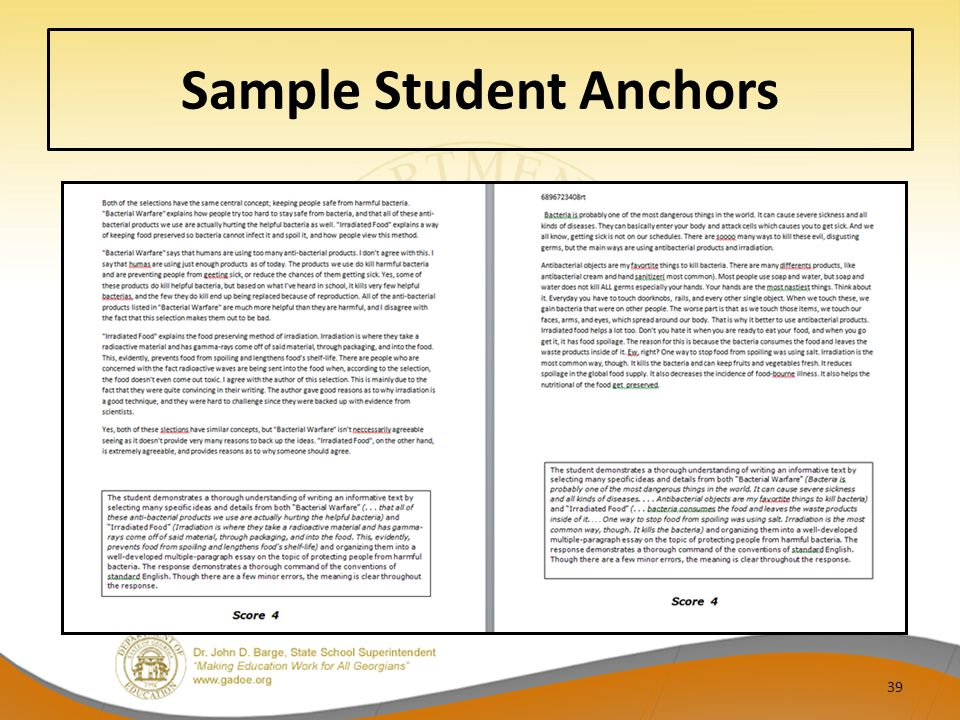 Sample Student Anchors