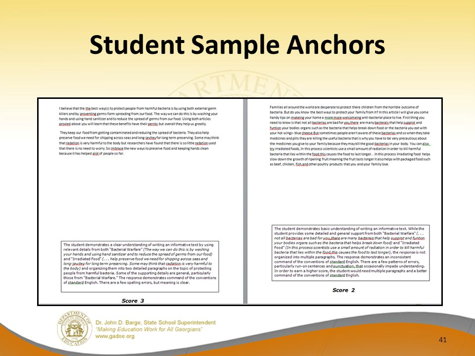 Student Sample Anchors