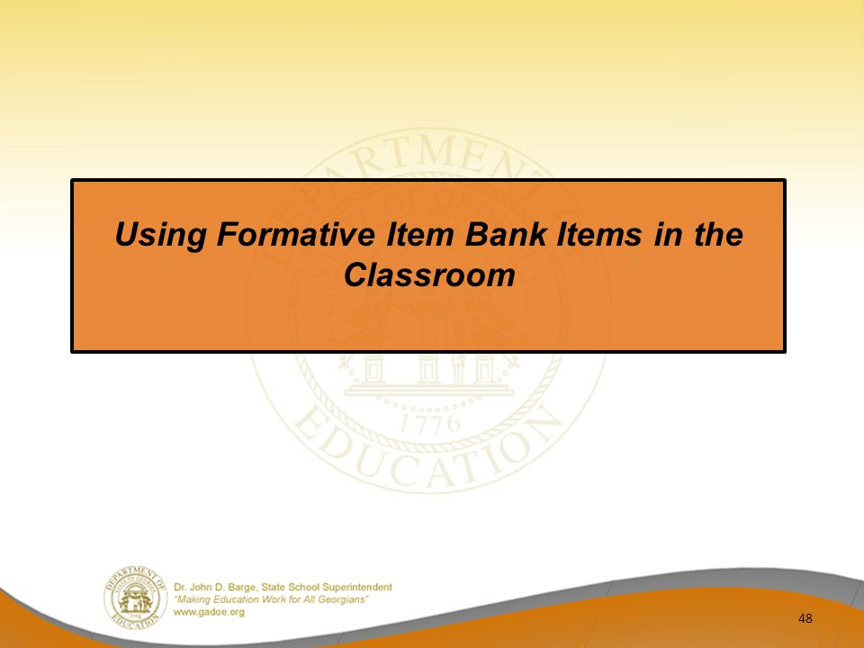 Using Formative Item Bank Items in the Classroom