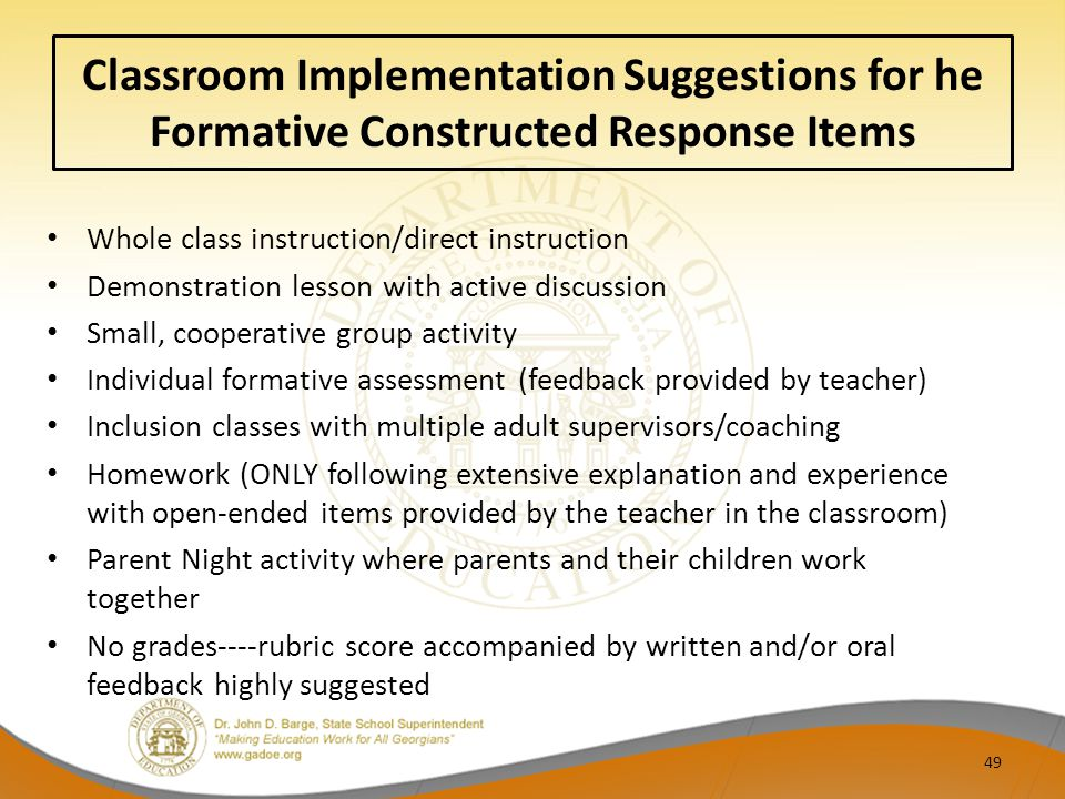 Classroom Implementation Suggestions for he Formative Constructed Response Items