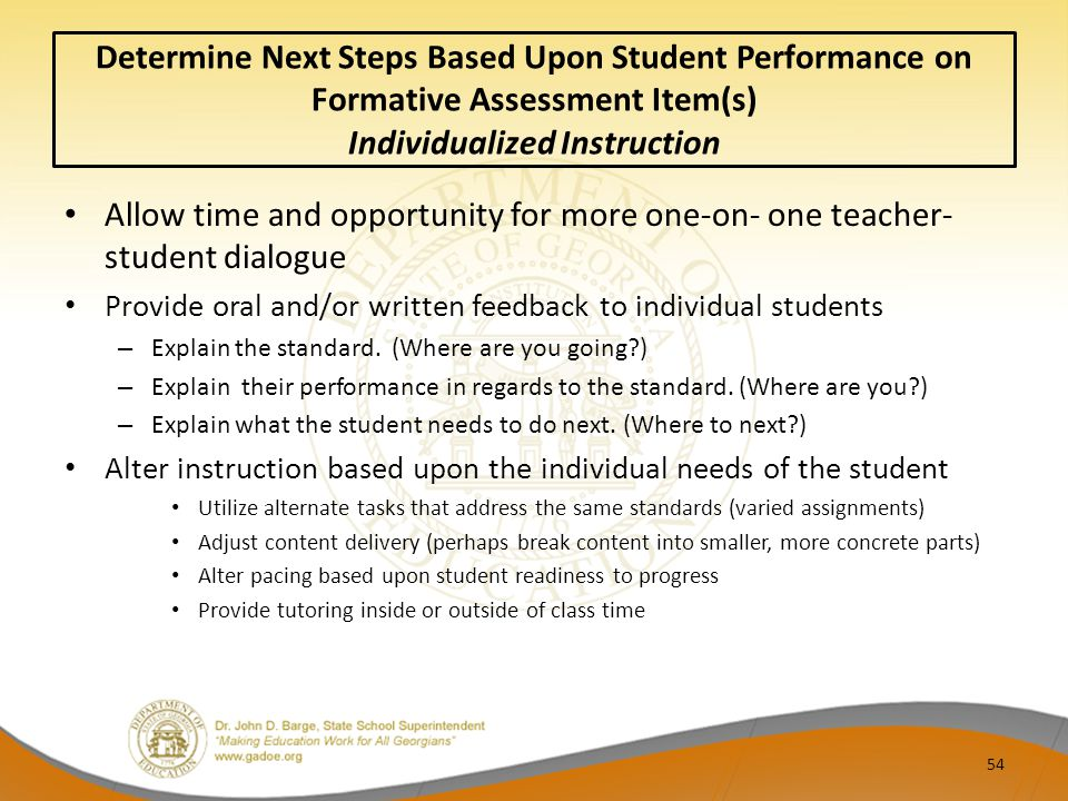 Determine Next Steps Based Upon Student Performance on Formative Assessment Item(s) Individualized Instruction