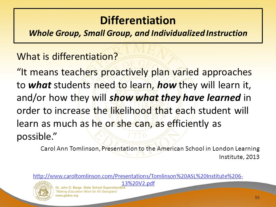 Differentiation Whole Group, Small Group, and Individualized Instruction