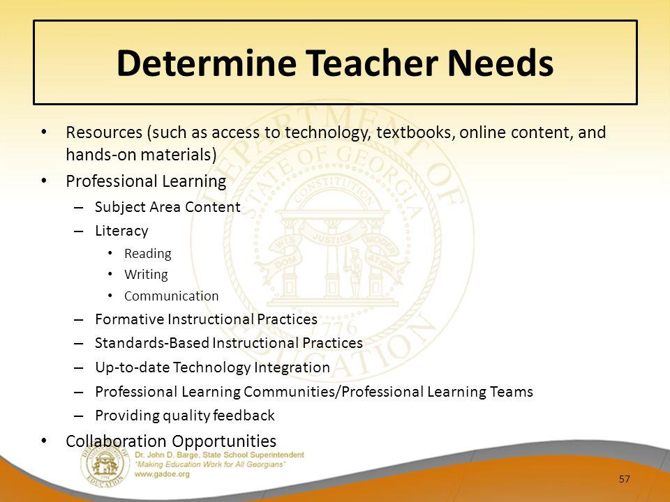 Determine Teacher Needs