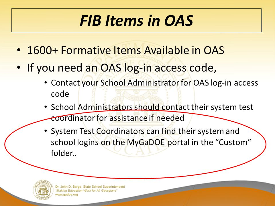 FIB Items in OAS 1600+ Formative Items Available in OAS