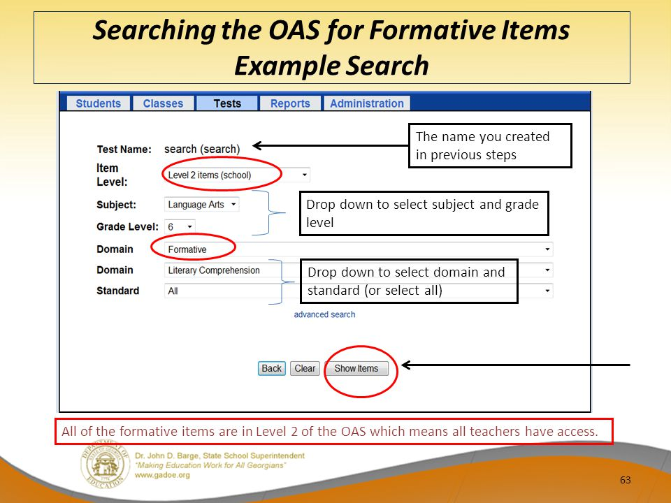 Searching the OAS for Formative Items Example Search