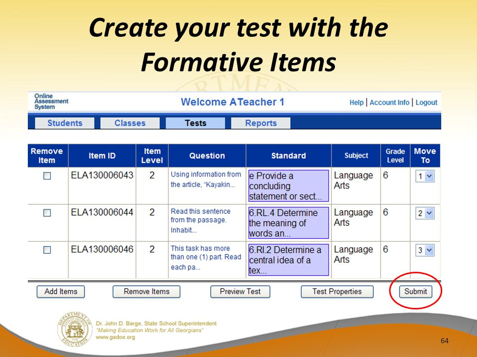 Create your test with the Formative Items