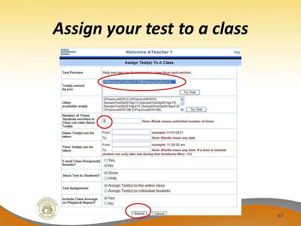 Assign your test to a class