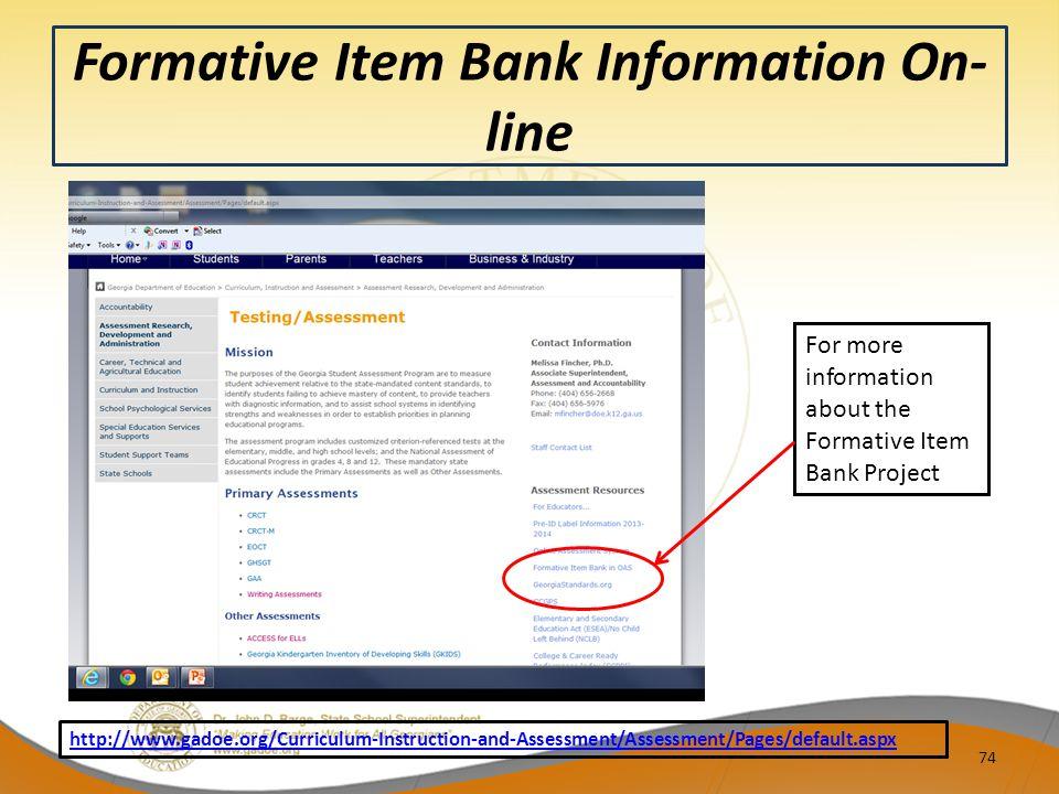 Formative Item Bank Information On-line