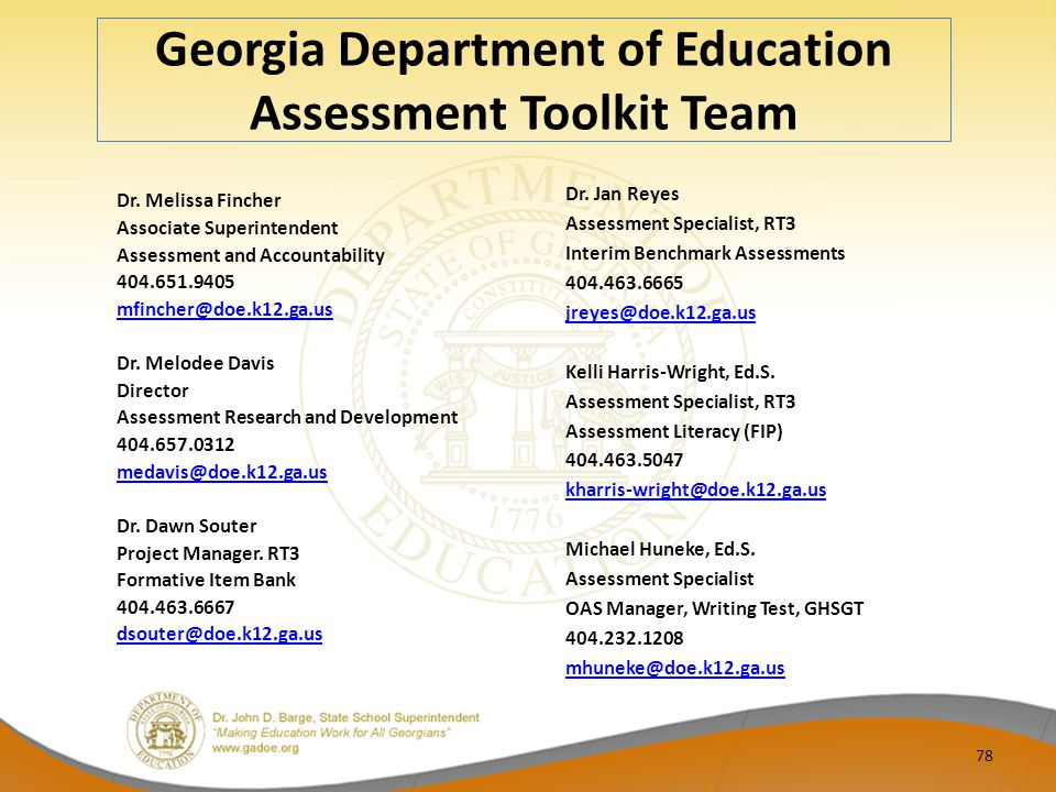 Georgia Department of Education Assessment Toolkit Team