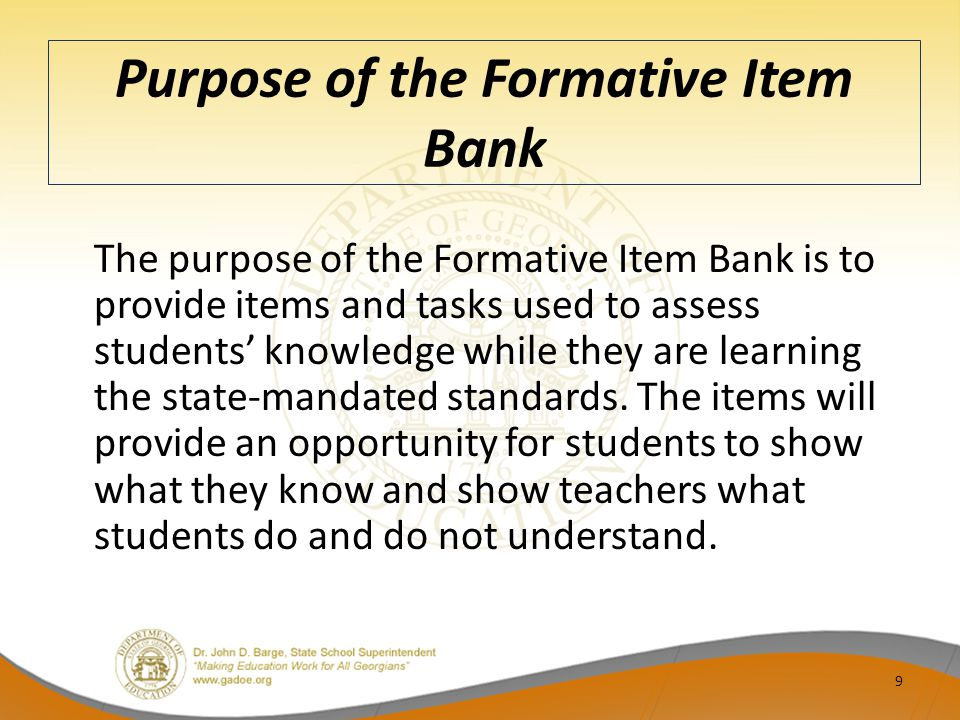 Purpose of the Formative Item Bank