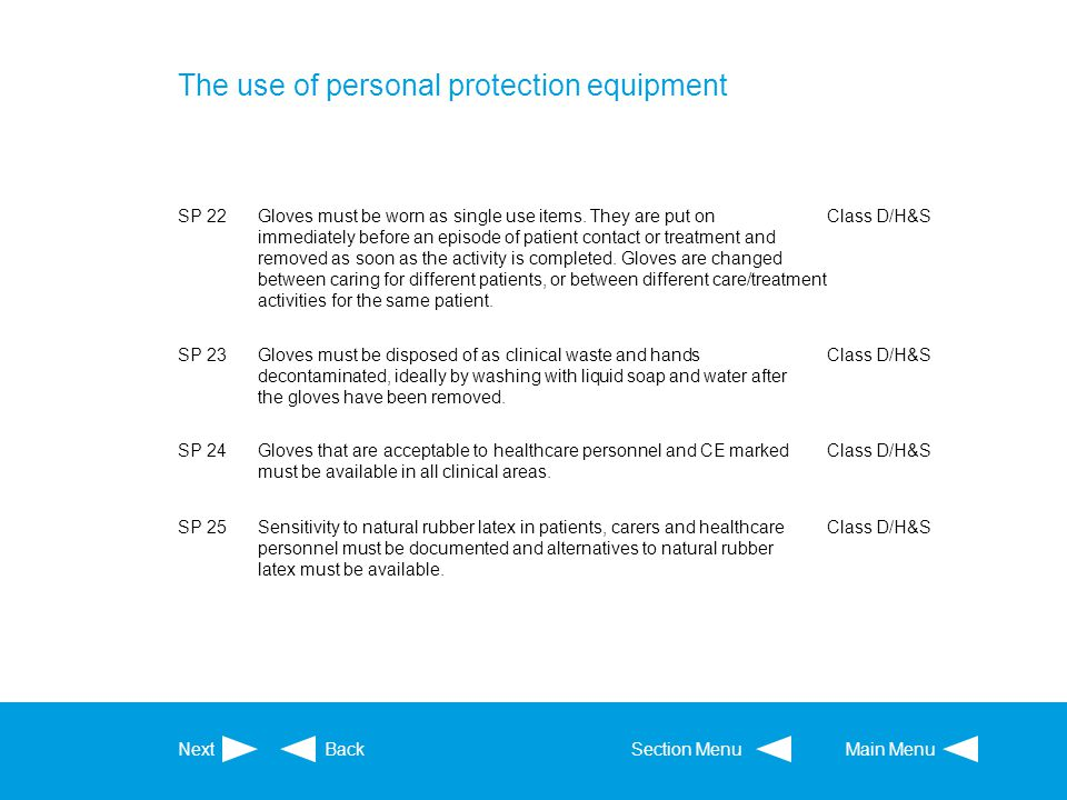 The use of personal protection equipment