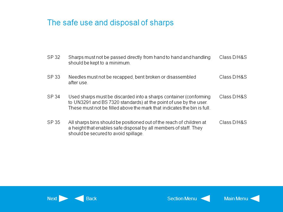 The safe use and disposal of sharps