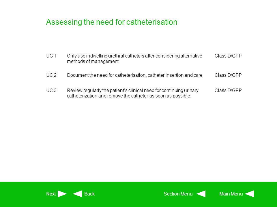 Assessing the need for catheterisation