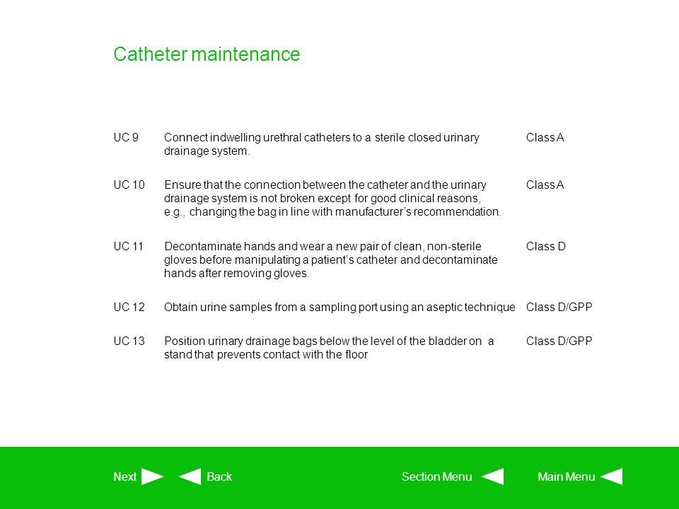 Catheter maintenance UC 9