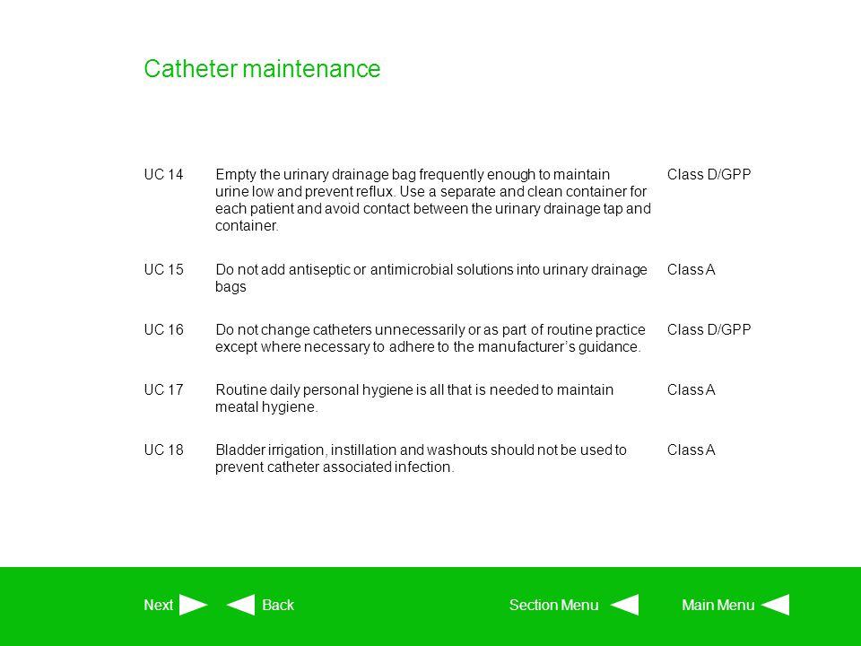 Catheter maintenance UC 14