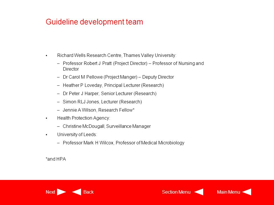 Guideline development team