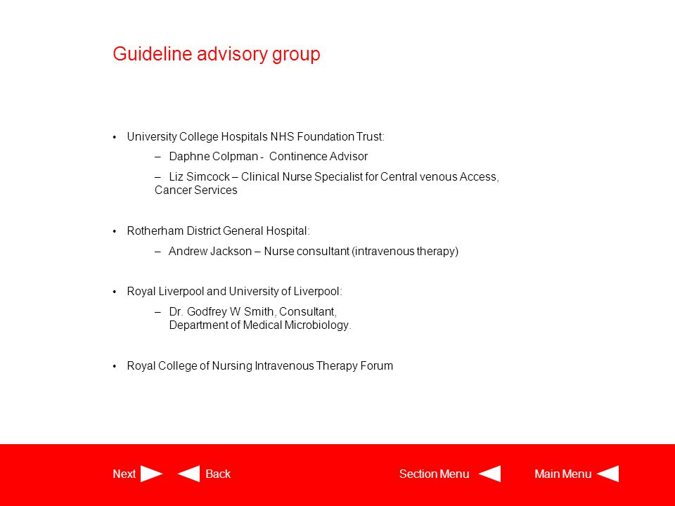 Guideline advisory group