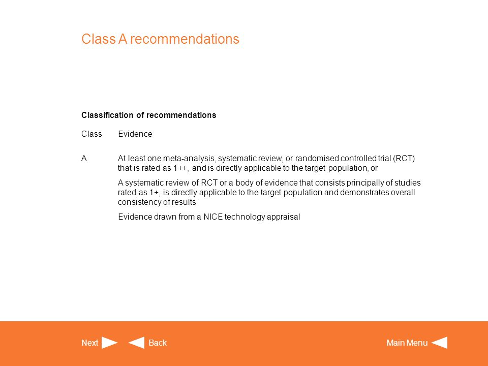 Class A recommendations