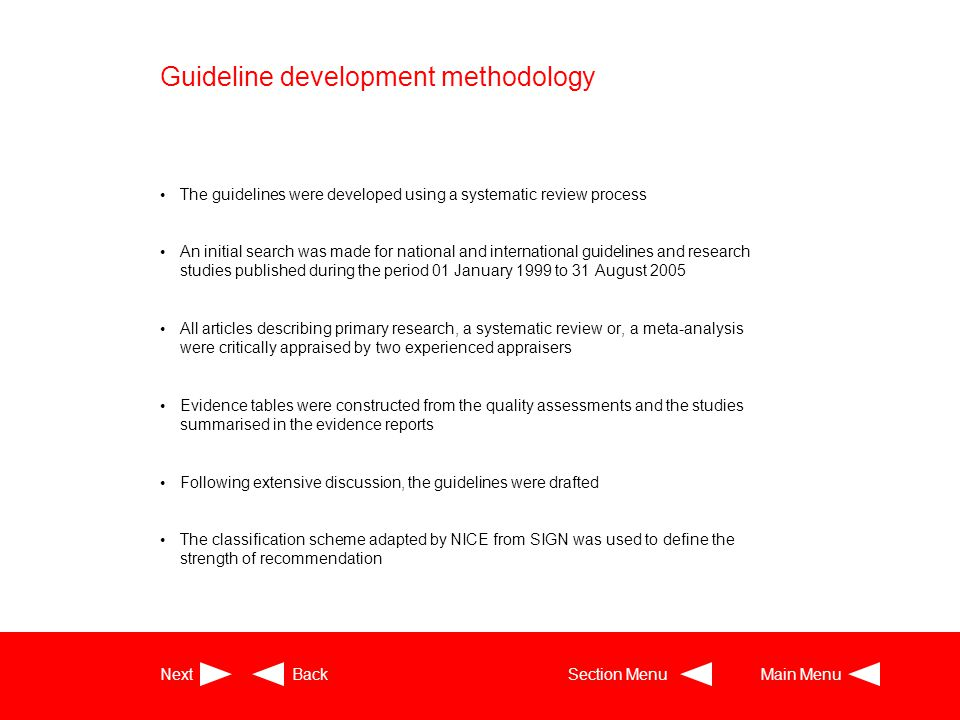 Guideline development methodology