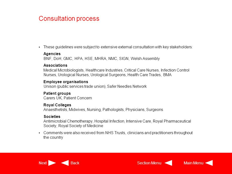 Consultation process These guidelines were subject to extensive external consultation with key stakeholders: