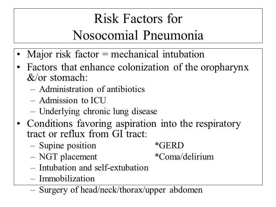 Risk Factors for Nosocomial Pneumonia