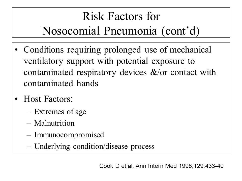 Risk Factors for Nosocomial Pneumonia (cont'd)