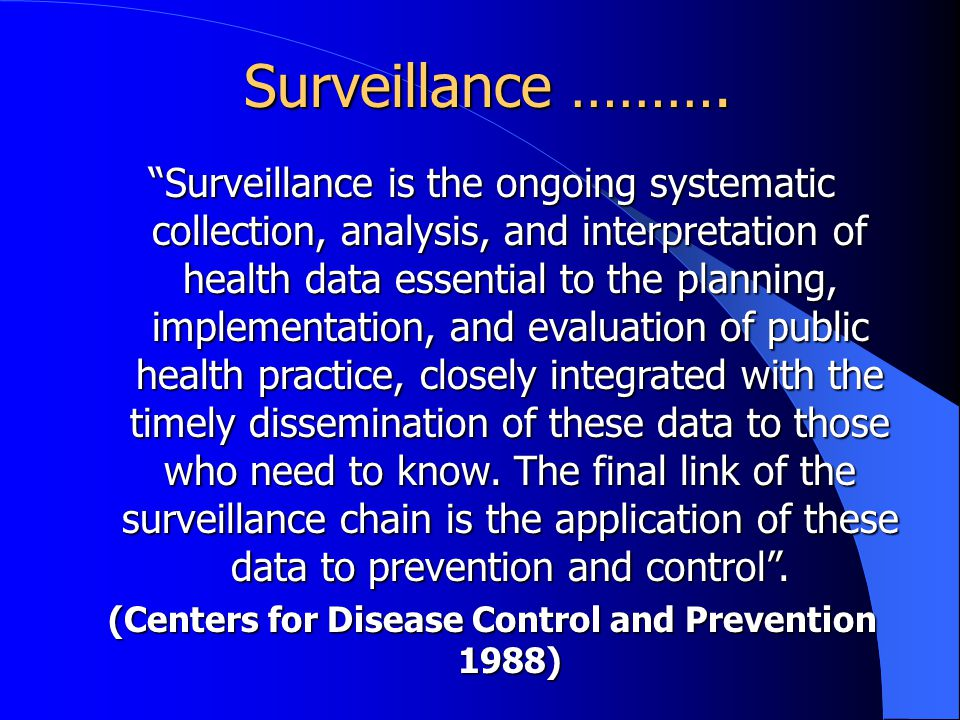 (Centers for Disease Control and Prevention 1988)