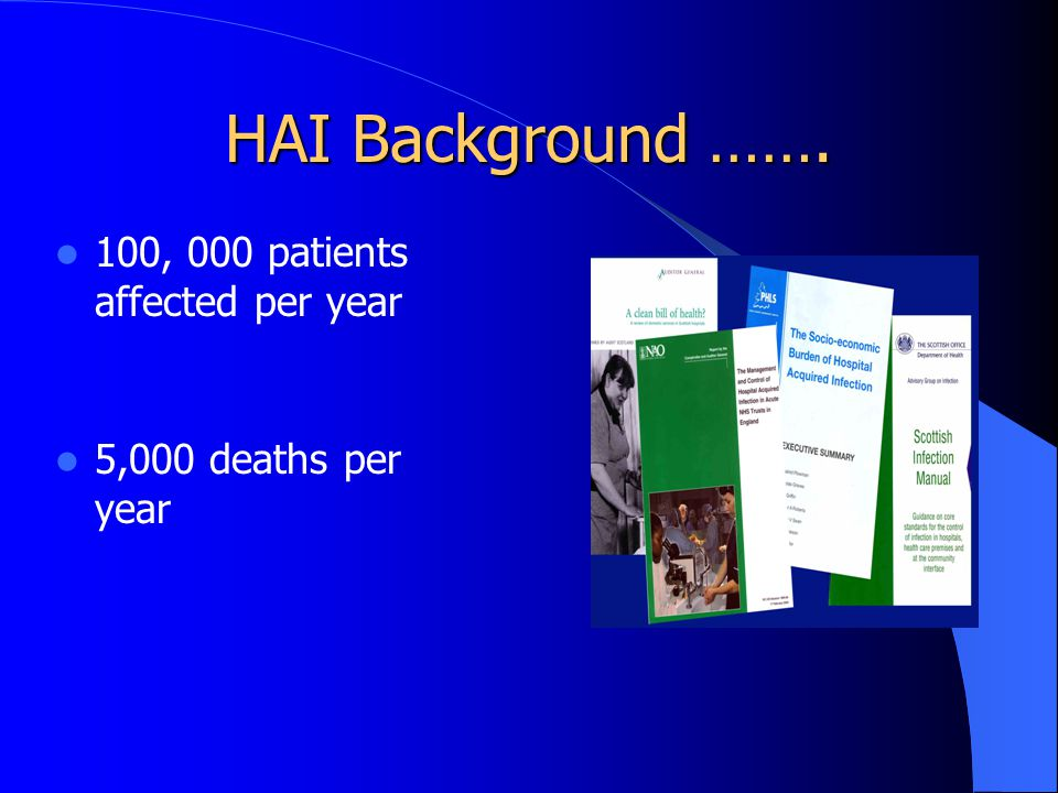 HAI Background ……. 100, 000 patients affected per year