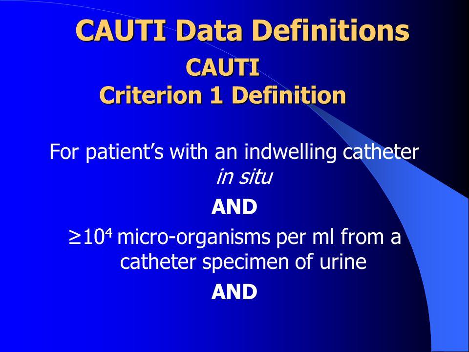 CAUTI Criterion 1 Definition