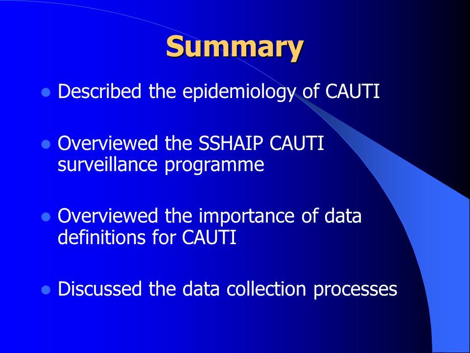 Summary Described the epidemiology of CAUTI