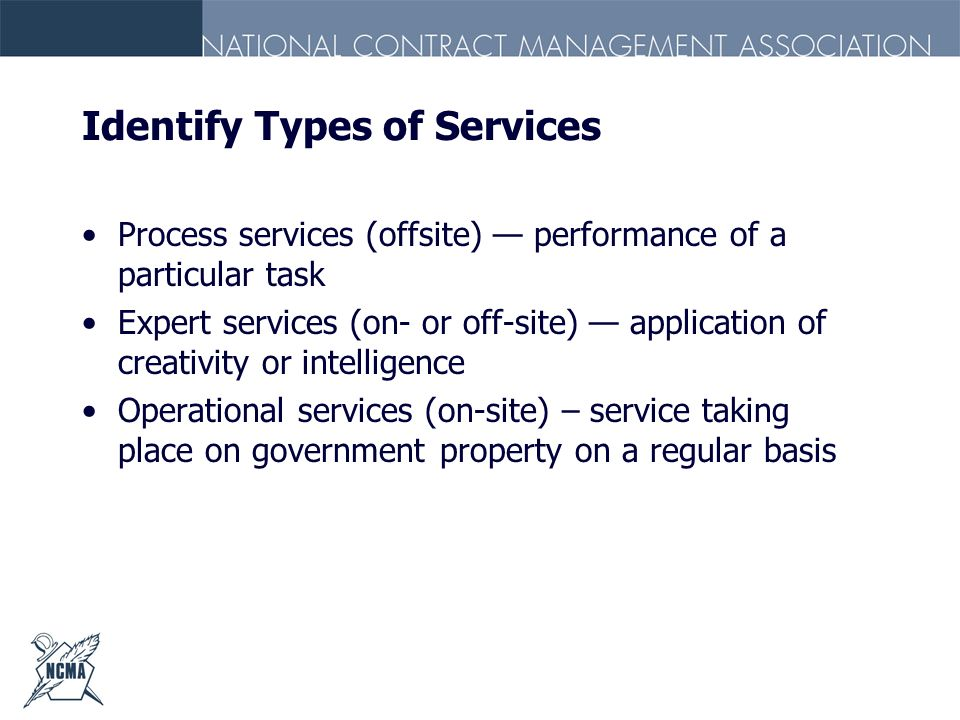 Identify Types of Services
